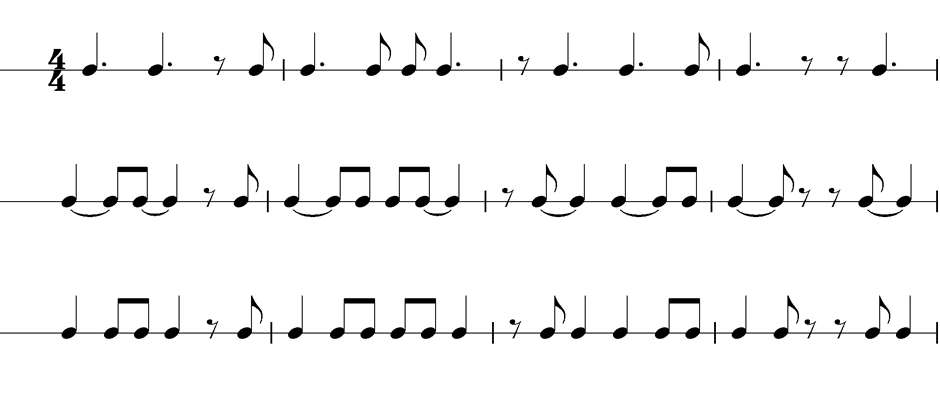 Punktierte Noten sind leichter zu verstehen durch Umschreiben in Noten mit Haltebögen! In der Lernphase hilft es, die Haltebögen wegzulassen und Schritt für Schritt hinzuzufügen.