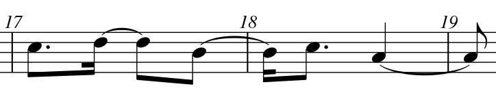Kom! - Stück für Chor SATB - Monica Aslund - Takt 17 und 18