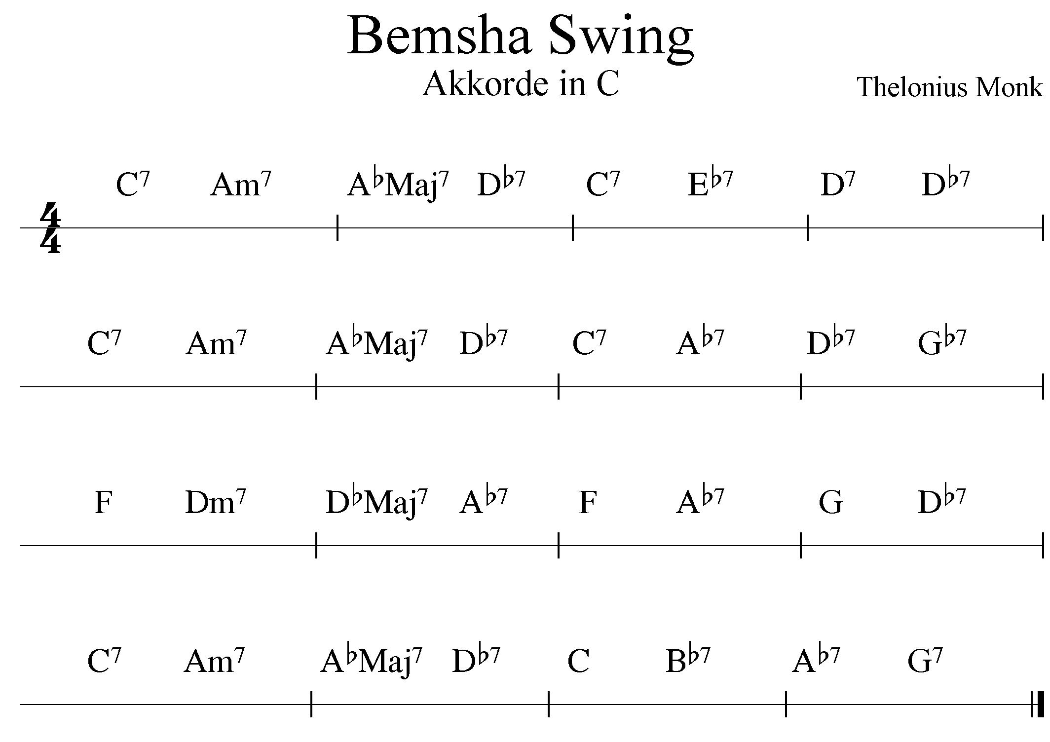 Bemsha Swing - Akkorde in C