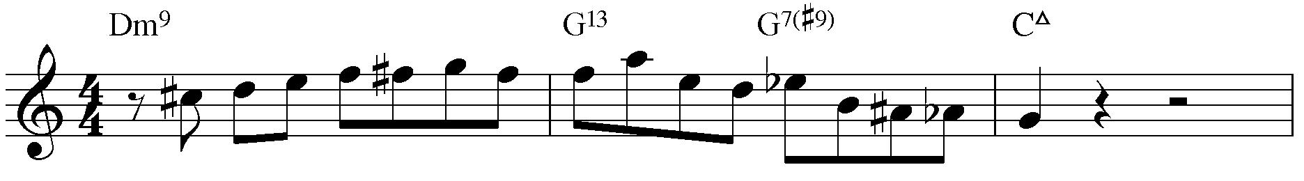 Jazzpattern IIm7 - V7 - IMaj7. C-Dur.