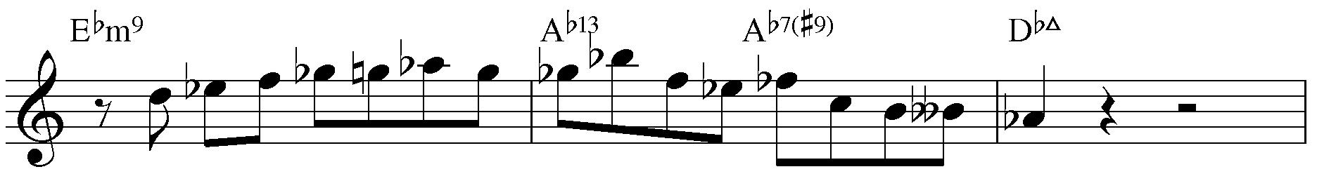 Jazzpattern IIm7 - V7 - IMaj7. Des-Dur.
