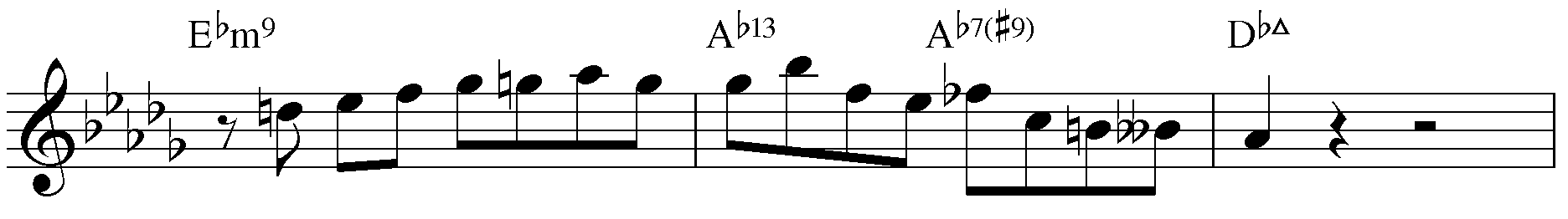 Jazzpattern IIm7 - V7 - IMaj7. Des-Dur mit Generalvorzeichnung.