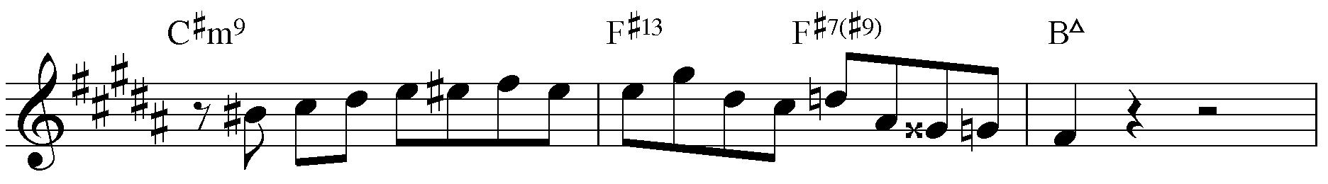 Jazzpattern IIm7 - V7 - IMaj7. H-Dur mit Generalvorzeichnung.