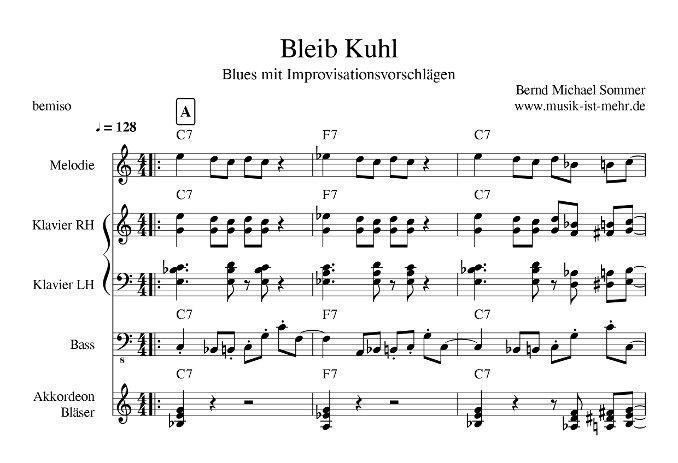 BLEIB KUHL - Blues von Bernd Sommer - gesetzt mit dem Notenprogramm musescore