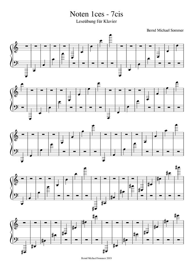 Notenleseübung für das Klavier - Seite 1/2 - Dr. Bernd Michael Sommer - MUSIK IST MEHR