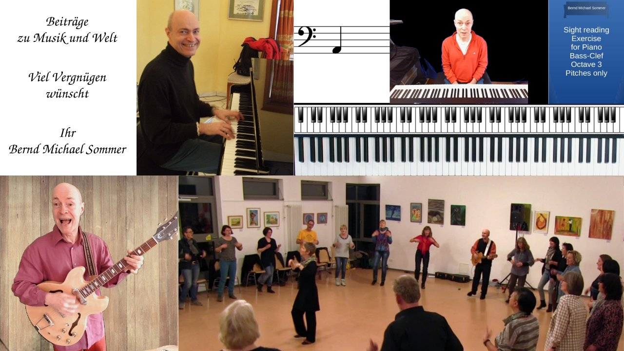 Dr. Bernd Michael Sommer spielt Klavier, Gitarre, unterrichtet, konzertiert, unterrichtet und tritt bei Musikveranstaltungen auf. MUSIK IST MEHR: Beiträge zu Musik und Welt. Viel Vergnügen wünscht Ihr Bernd Michael Sommer